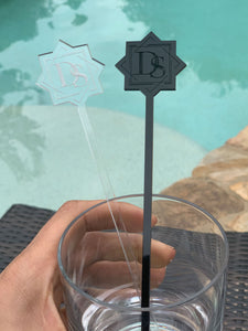 custom logo drink stirrer black and clear