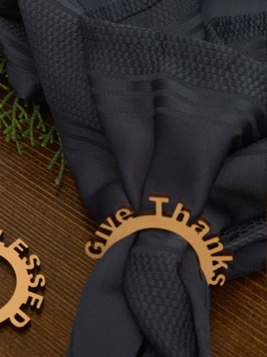give thanks wood napkin ring