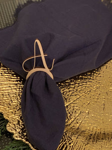 painted gold wood letter A napkin ring