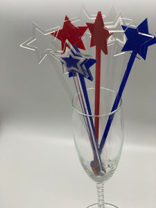 Patriotic Star Drink Stirrers, Set of 10