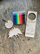 Load image into Gallery viewer, Dinosaur DIY Craft Kit, 3 piece with markers