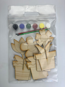 Flower Busy Bag, 3D DIY Wood paint kits