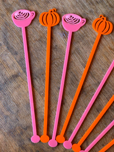 Pumpkin Latte Themed Drink Stirrers, Set of 5