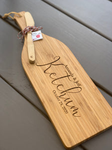 "16"" Wine Bottle Shaped Cutting & Serving Board (Personalize This!)"