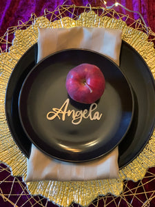 angela gold wood place card