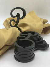 Load image into Gallery viewer, black acrylic letter P napkin rings