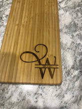 "Load image into Gallery viewer, 16"" Wine Bottle Shaped Cutting & Serving Board (Personalize This!)"
