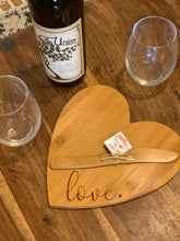 Load image into Gallery viewer, Heart Shaped Bamboo Cutting & Serving Board (Personalize This!)
