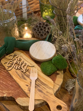 Load image into Gallery viewer, be our guest natural wood place card
