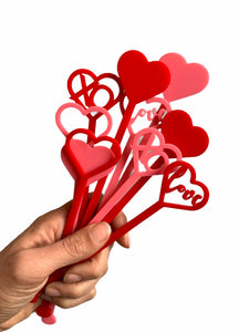 Heart Variety Drink Stirrers, Set of 5