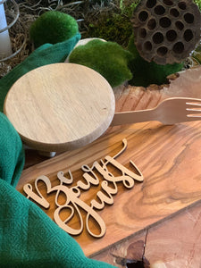 be our guest natural wood place card