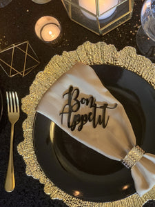 bon appetit black acrylic place cards