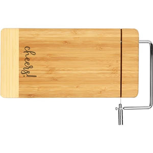 Bamboo Rectangle Cutting Board with Metal Cheese Cutter (Personalize This!)