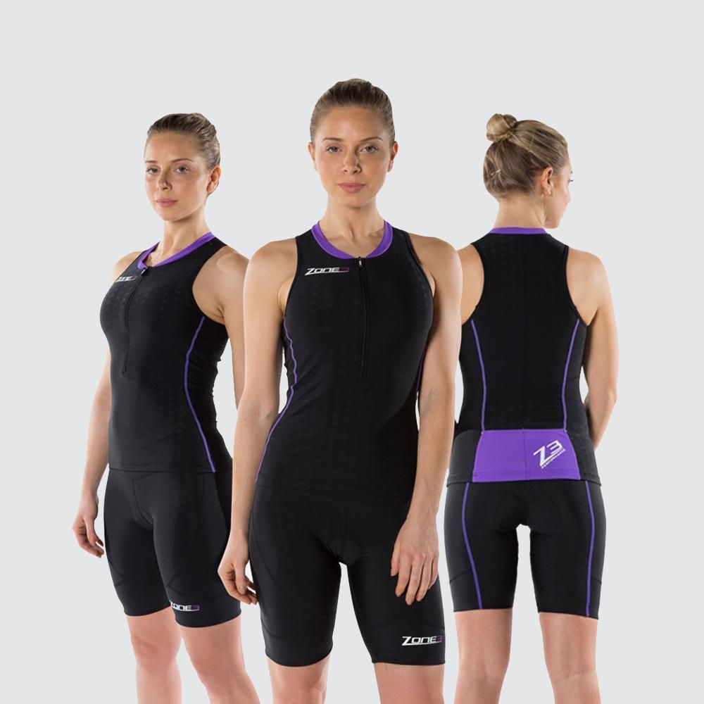 Zone3 Aquaflo Womens Top (Black/Purple)