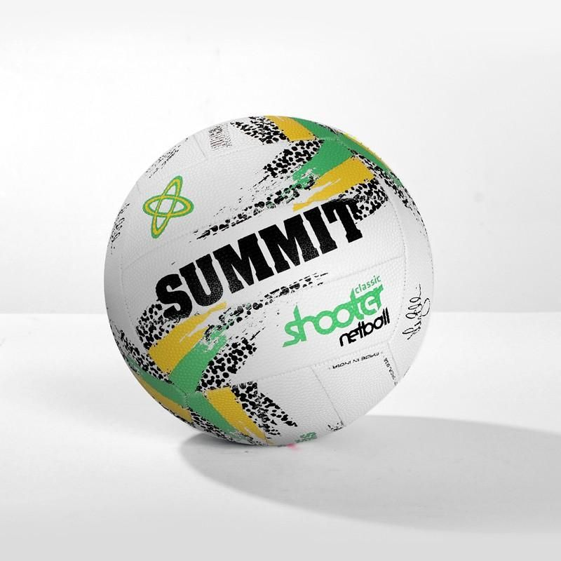 Summit Liz Ellis Classic Shooter Stitched Netball Sport Ball White/Green