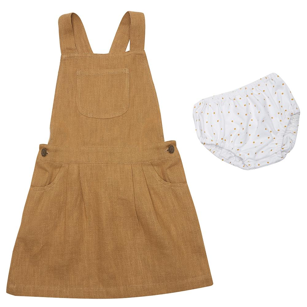 dotty-dungarees-ltd, Caramel Linen Dress