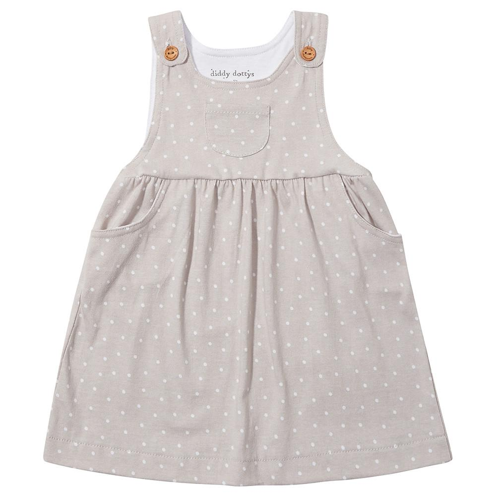 Grey Diddy Dotty Dungarees Dress