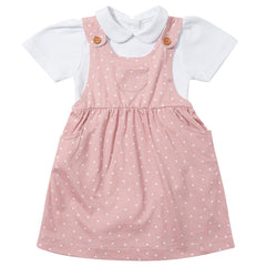 Pink Diddy Dotty Dungarees Dress