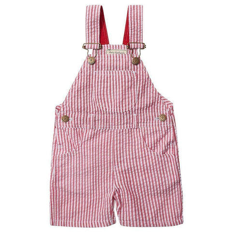Dotty Dungarees - Red Seersucker Shorts