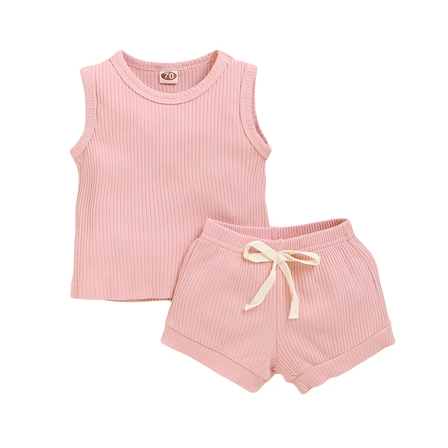Earth Side Baby Pink Ribbed Cotton Set