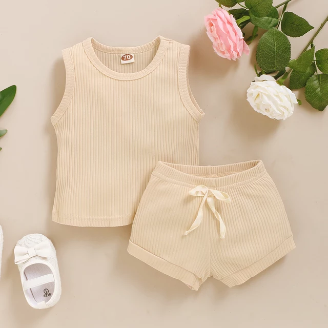 Earth Side Sandy Brown Ribbed Cotton Set