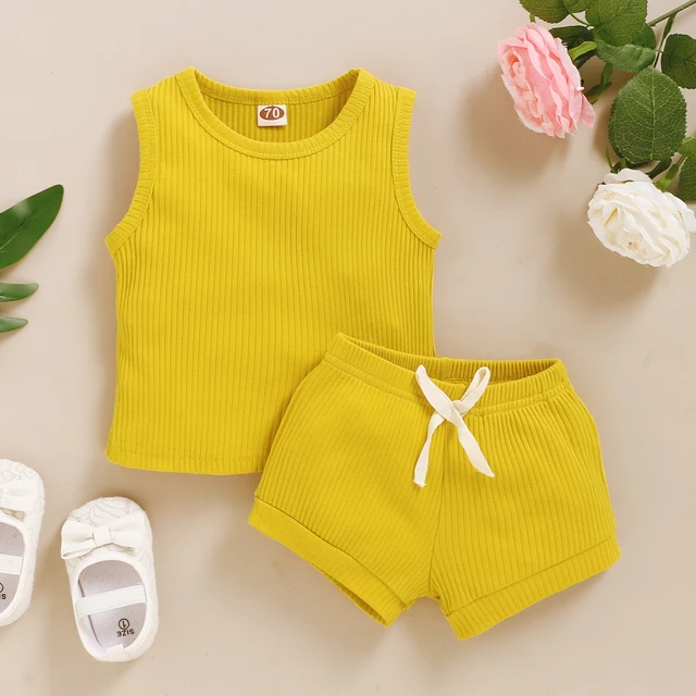 Earth Side Mustard Yellow Ribbed Cotton Set