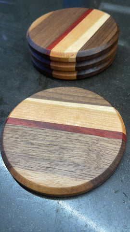 Custom coaster set wooden coasters built with Forest 2 Home hardwood lumber walnut wood, cherry wood and hard maple wood