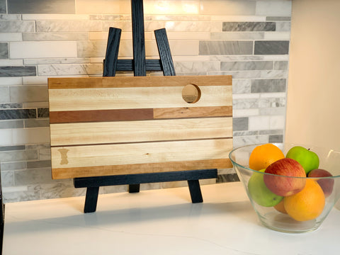 Custom serving tray wooden kitchen decor created in workshop by female woodworker out of Forest 2 Home Cherry wood and Hard Maple hardwood