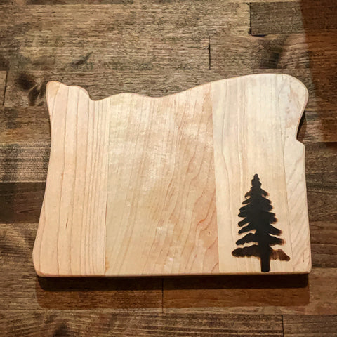Custom made DIY cutting board featuring Forest 2 Home hard maple wood and custom wood brand pyrography design