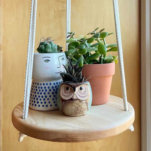 Macramé hanging plant shelf with 3 potted plants atop a natural grain wood shelf