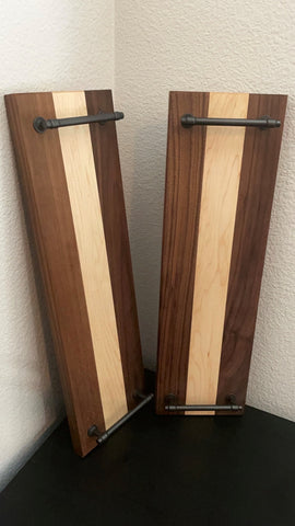 Custom build charcuterie boards and serving trays made with Forest 2 Home hardwood lumber Walnut wood and Hard Maple wood