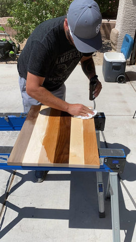 Applying wood finish to DIY cutting board made from Forest 2 Home wood box wooden cutting board kit