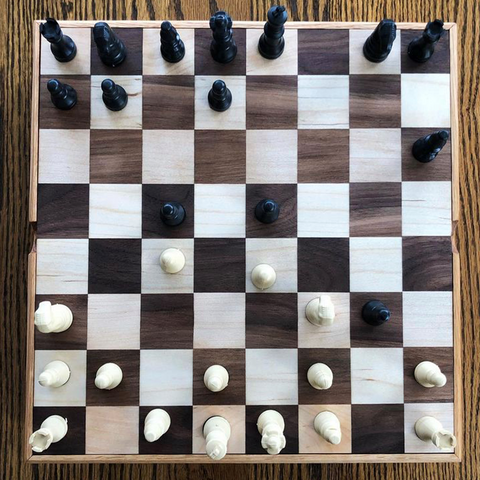 Custom made chess set made from Hard Maple wood and Walnut wood by woodworker