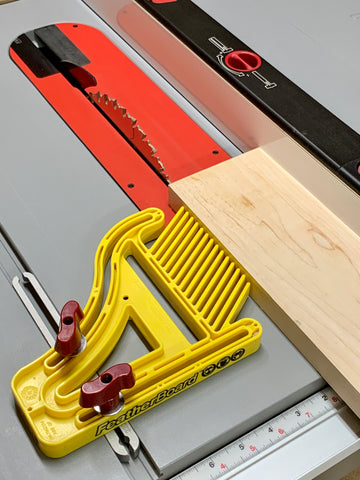 Featherboard used on mitersaw in a woodwork shop for DIY kitchen renovation