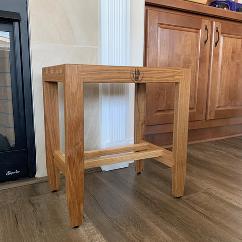 Custom furniture design built by furniture maker and woodworker in woodworking shop with Forest 2 Home White Oak hardwood and Red Oak wood