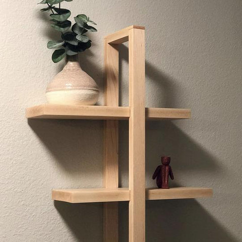 Japandi interior style, open concept shelves. Perfect shelf for all kinds of shelfies. Built with Forest 2 Home premium lumber 4 4 Hard Maple
