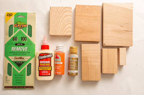Materials needed for wooden pumpkin woodworking project made with Forest 2 Home premium hardwood lumber