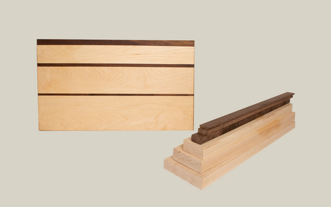 Shopf2h premium lumber Hard Maple wood and Walnut wood cutting board kit from Forest 2 Home. F2H Shop is offering a variety of cutting board kits of DIY workshop projects and DIY gifts