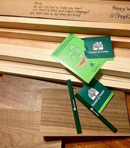 Forest 2 Home Hardwood in various wood species including Walnut, Cherry and Hard Maple. FSC Certified wood kits, perfect for woodworking, wood projects and DIY