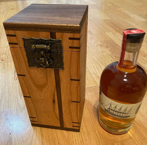 Custom made hand made wooden whiskey box made with Forest 2 Home Cherry wood and Walnut hardwood