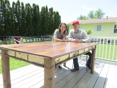 Two woodworkers at a Walnut wood table custom furniture build made with Forest 2 Home premium lumber Walnut hardwood