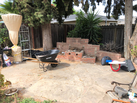 Before photo of DIY home renovation pergola project