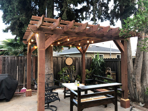 Pergola home renovation, home DIY, outdoor woodworking project