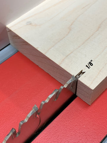 """Accounting for 1/8"""" thickness when ripping hardwood boards. Important woodshop advice when beginning a new project"""