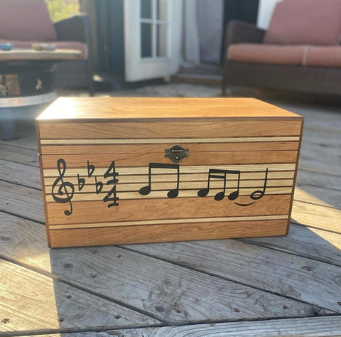 Musical keepsake box wooden box created by a woodworker in woodworking workshop