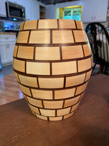 Vase created by a woodturner as a woodturning project on a lathe machine featuring Forest 2 Home premium hardwood lumber