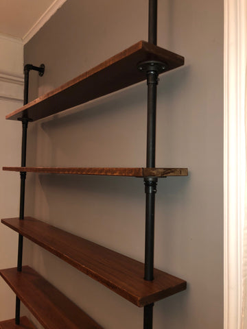 Open Shelving unit constructed with premium quality hardwood White Oak species with black iron pipes. Perfect for any modern, rustic or industrial interior design