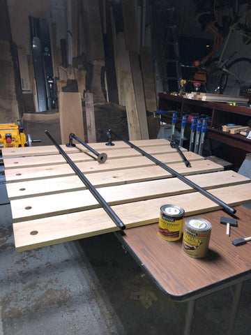 Heming way open shelf assembly with industrial black pipe and natural grain wood