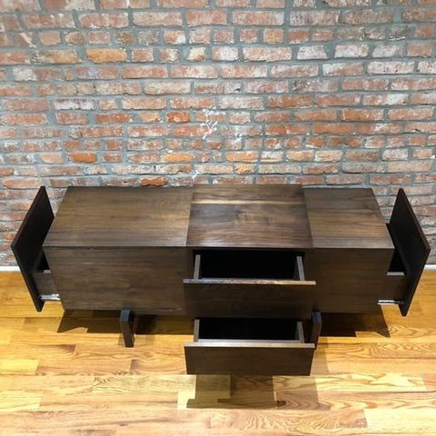 Modern designed custom furniture build crafted with Forest 2 Home premium hardwood in Walnut