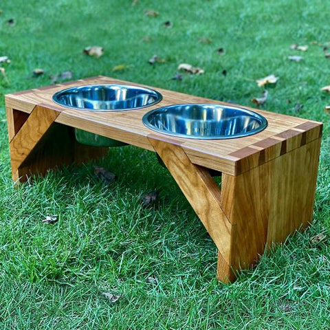 Handmade dog bowl created with Forest2Home hardwood lumber in Cherry wood species
